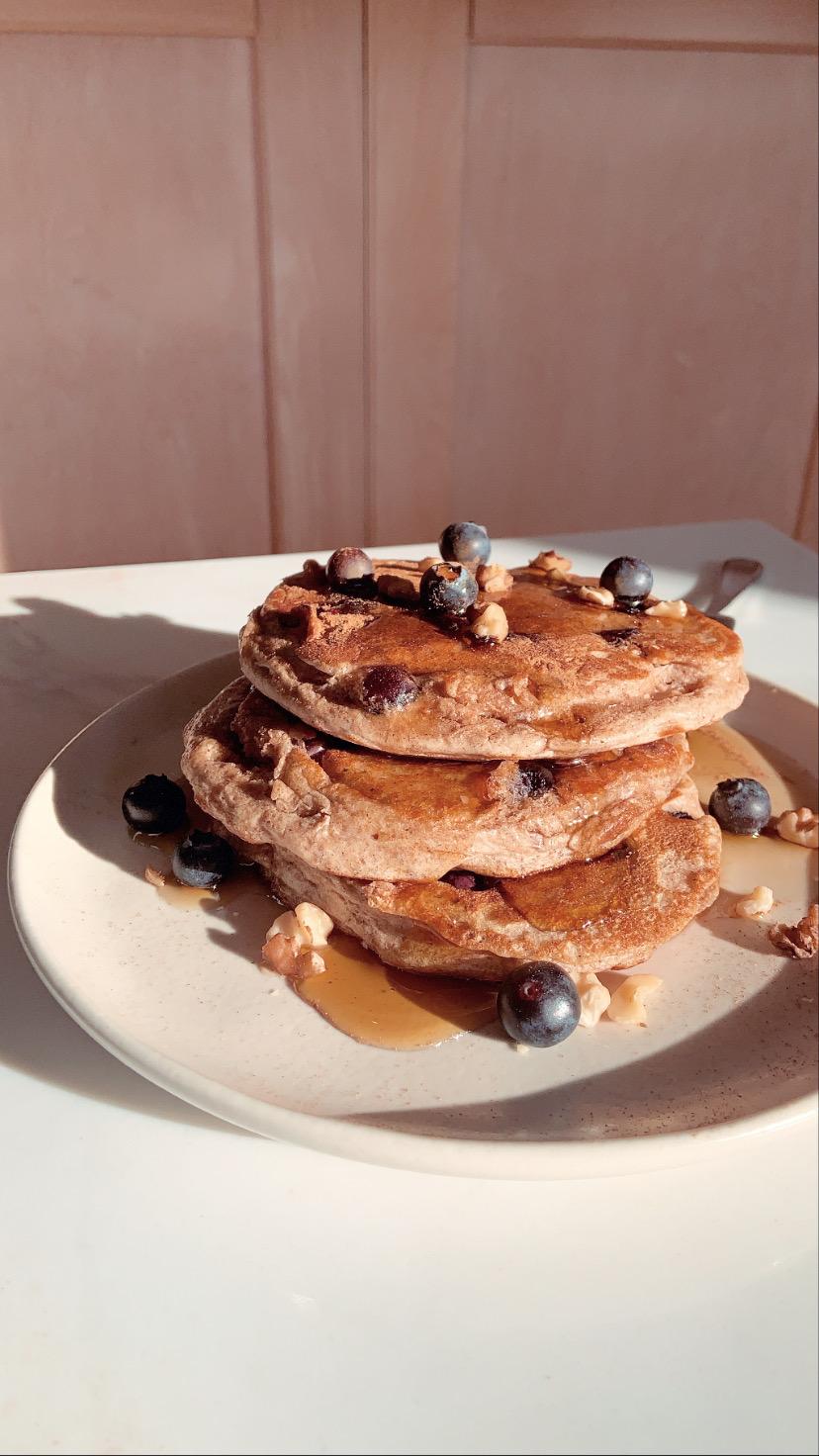 Blueberry Cinnamon Protein Pancakes